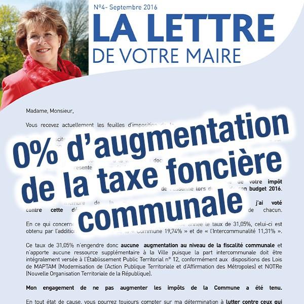 Lettre de votre maire taux d 39 imposition de la taxe fonci re sur les pro - Taxe sur la propriete principale ...